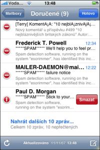 Mazání e-mailů