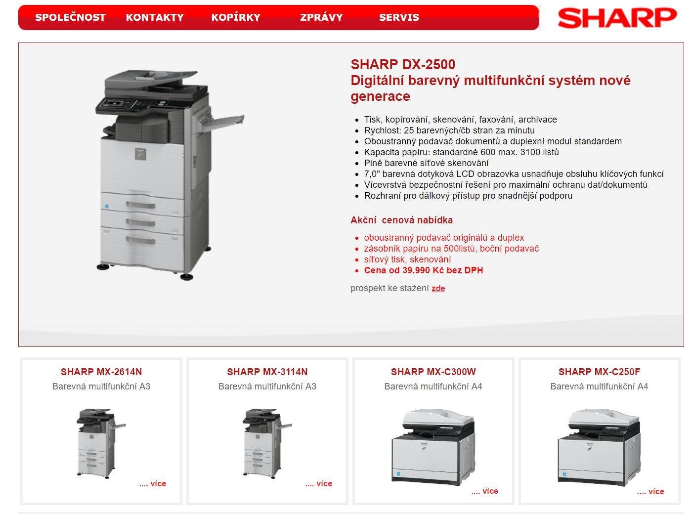 Sharp Ostrava - kancelářská technika