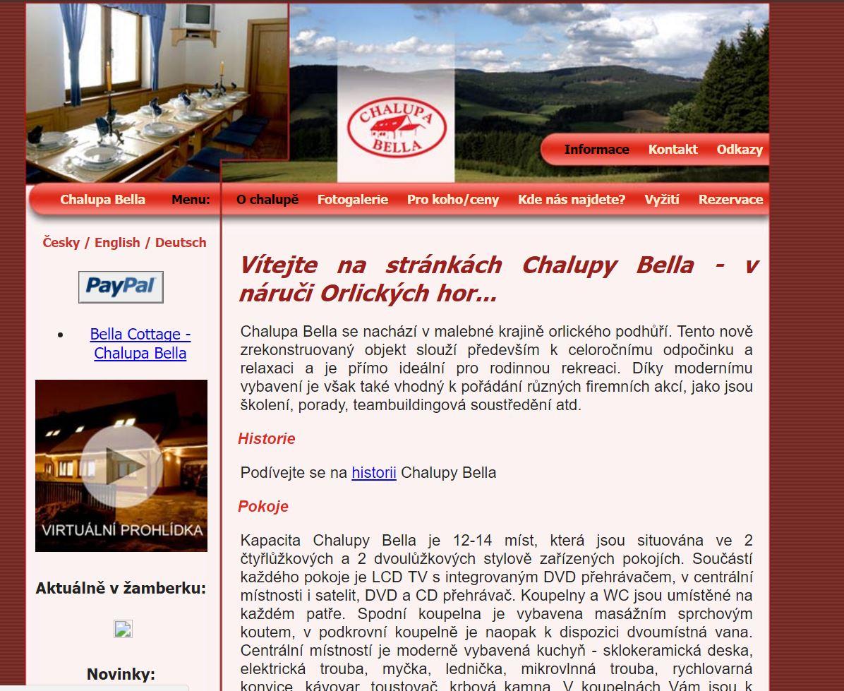 Chalupa Bella – v náruči Orlických hor
